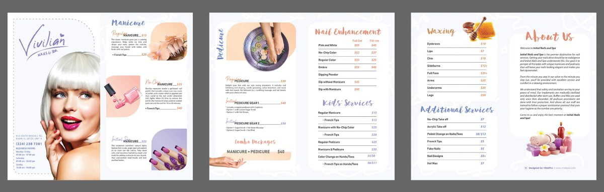 modern purple menu