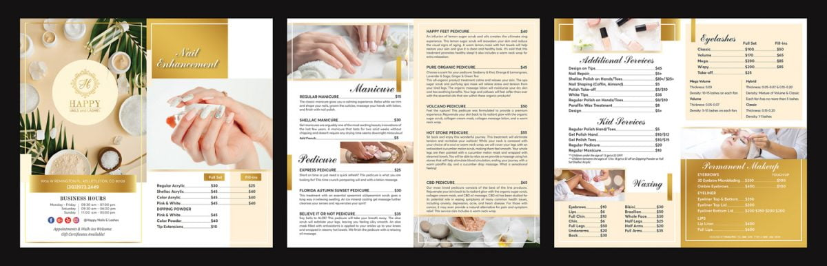 modern yellow & begie menu